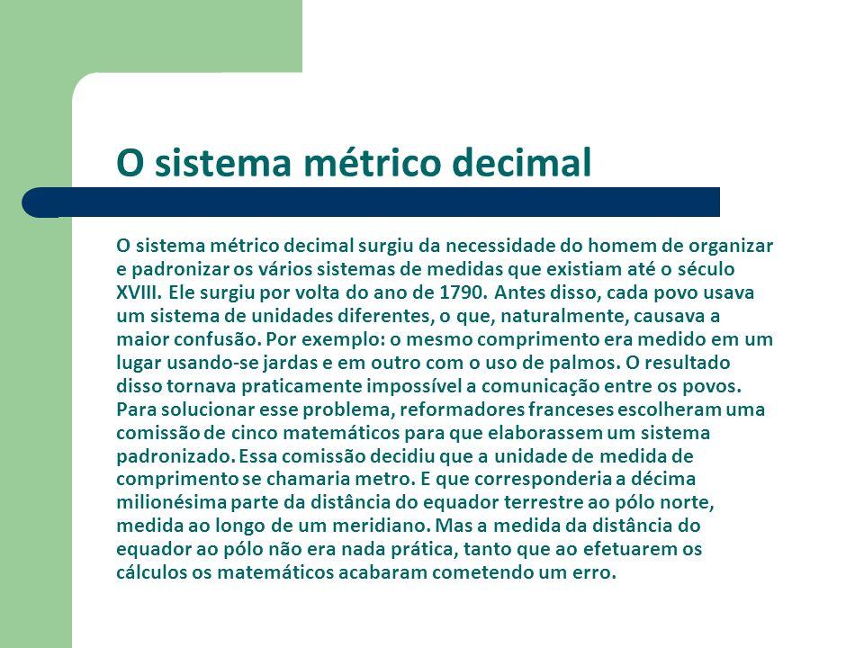 O sistema métrico decimal O sistema métrico decimal surgiu da necessidade do homem de organizar e padronizar os vários sistemas de medidas que existiam até o século XVIII.