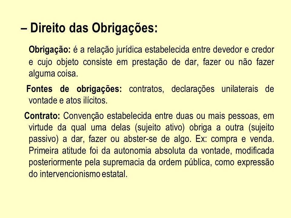 – Direito das Obrigações: