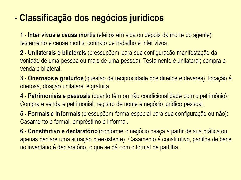 - Classificação dos negócios jurídicos