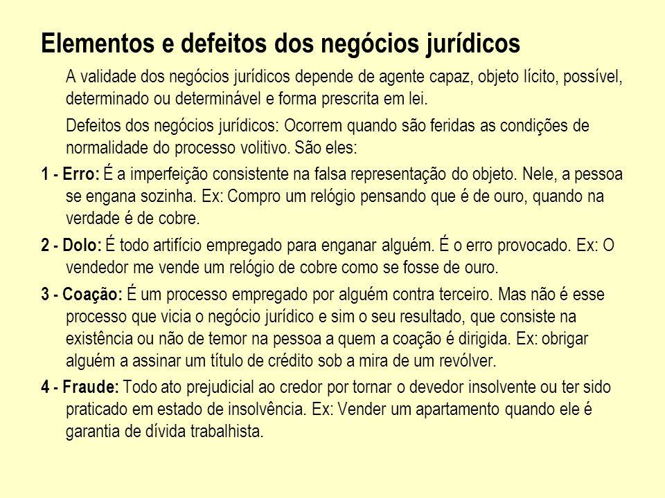 Elementos e defeitos dos negócios jurídicos