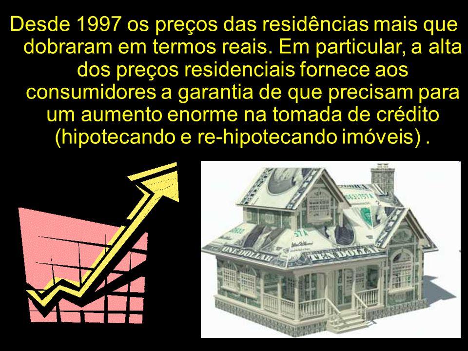 Desde 1997 os preços das residências mais que dobraram em termos reais