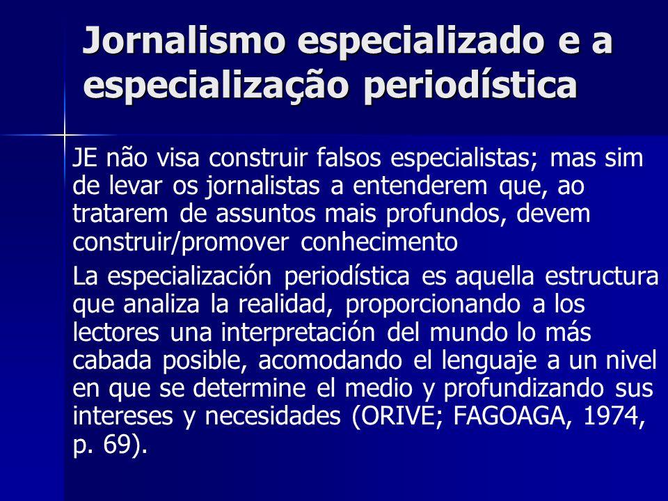 Jornalismo especializado e a especialização periodística