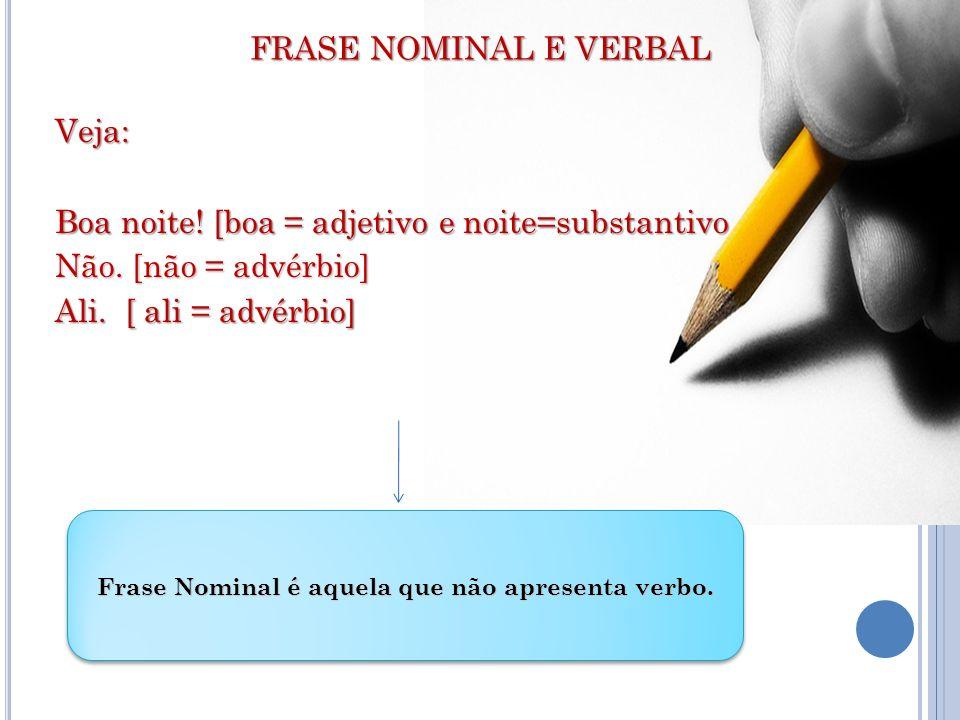 Frase Nominal é aquela que não apresenta verbo.