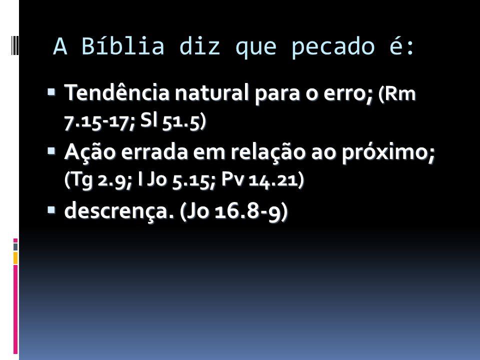 A Bíblia diz que pecado é: