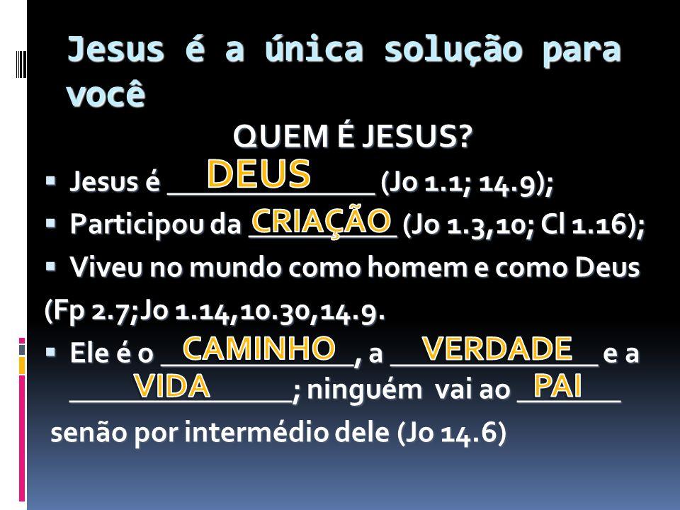 Jesus é a única solução para você