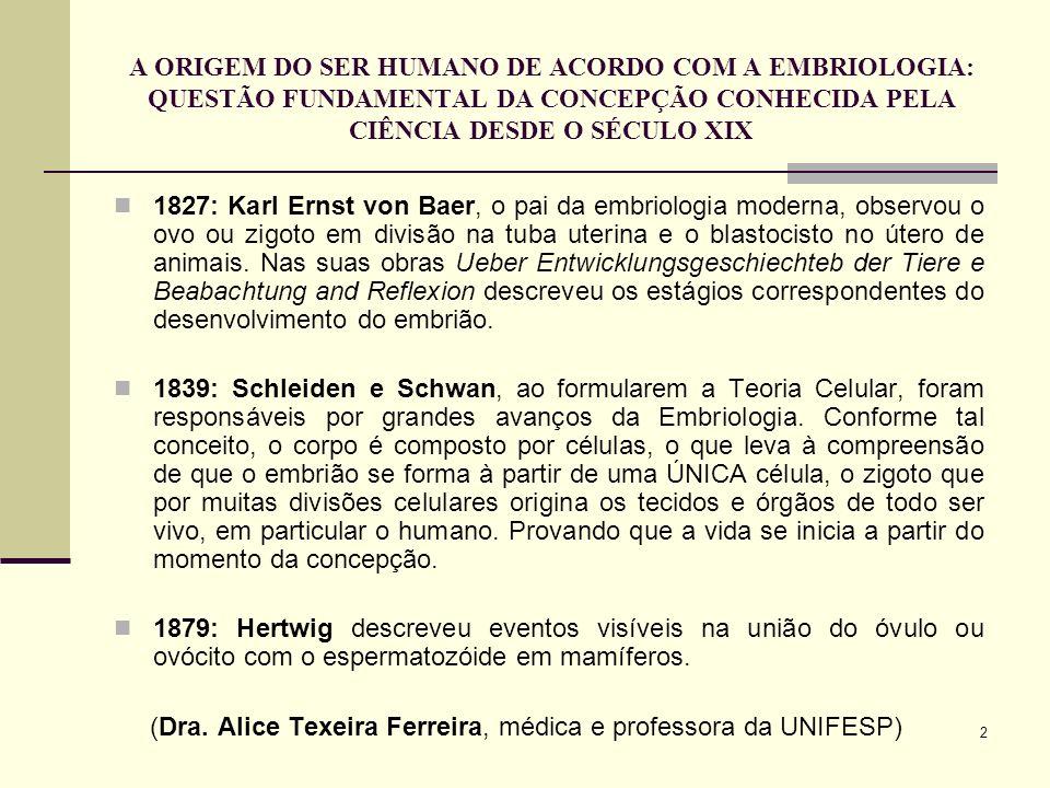 A ORIGEM DO SER HUMANO DE ACORDO COM A EMBRIOLOGIA: QUESTÃO FUNDAMENTAL DA CONCEPÇÃO CONHECIDA PELA CIÊNCIA DESDE O SÉCULO XIX