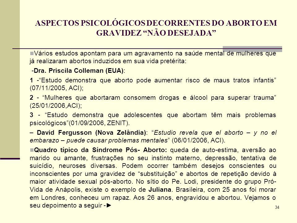 ASPECTOS PSICOLÓGICOS DECORRENTES DO ABORTO EM GRAVIDEZ NÃO DESEJADA
