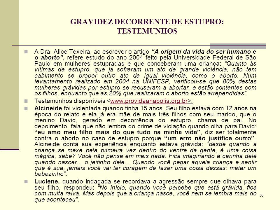 GRAVIDEZ DECORRENTE DE ESTUPRO: TESTEMUNHOS