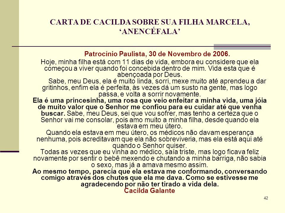 CARTA DE CACILDA SOBRE SUA FILHA MARCELA, 'ANENCÉFALA'