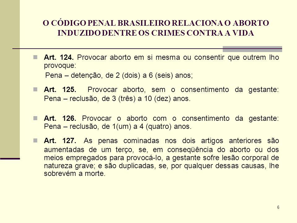 O CÓDIGO PENAL BRASILEIRO RELACIONA O ABORTO INDUZIDO DENTRE OS CRIMES CONTRA A VIDA