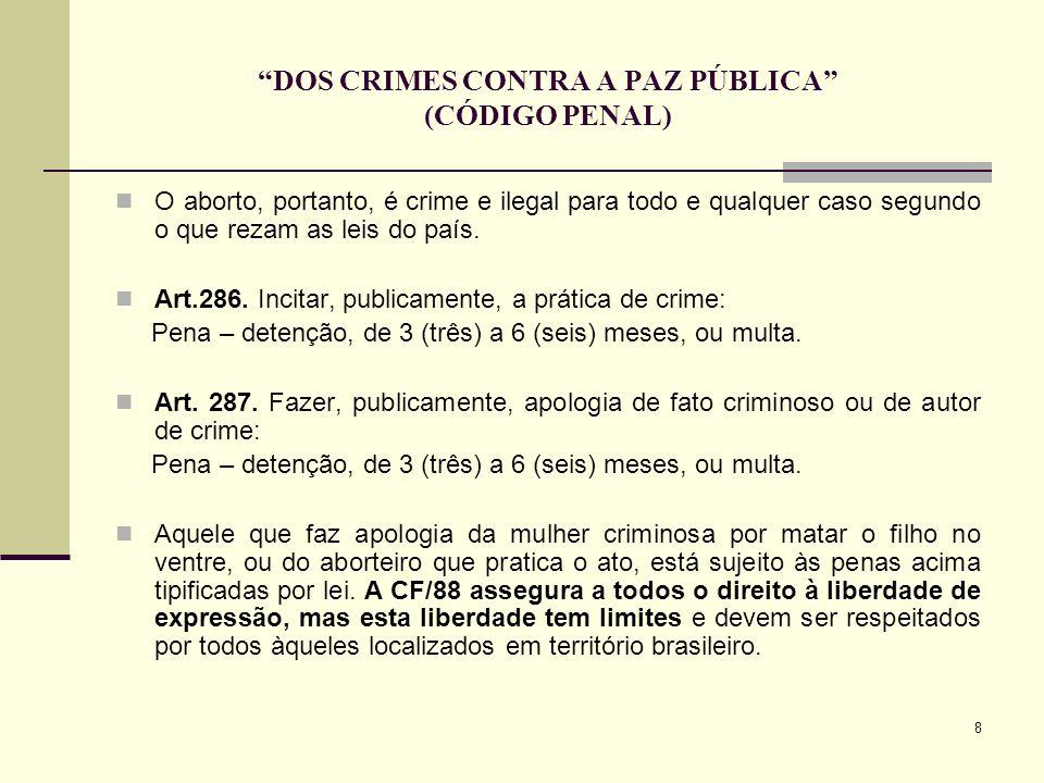 DOS CRIMES CONTRA A PAZ PÚBLICA (CÓDIGO PENAL)