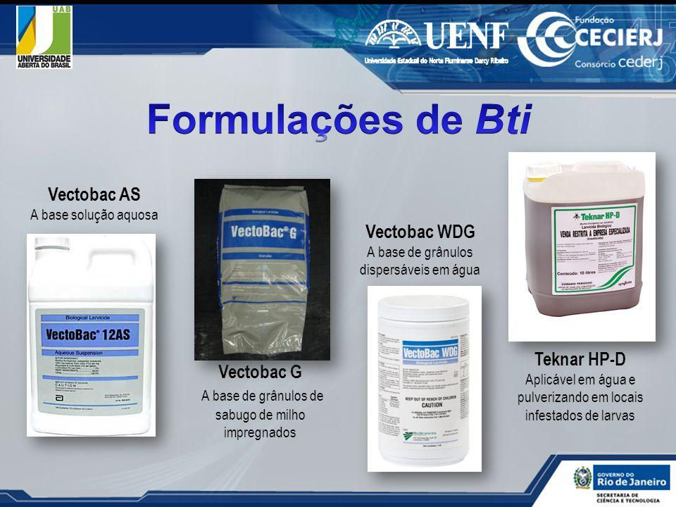 Formulações de Bti Vectobac AS Vectobac WDG Teknar HP-D Vectobac G