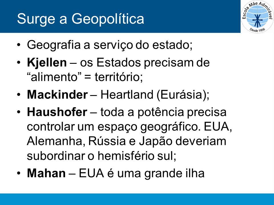 Surge a Geopolítica Geografia a serviço do estado;