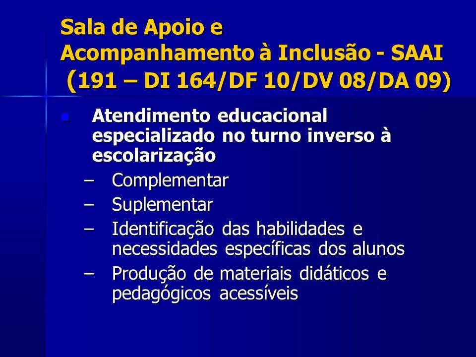 Sala de Apoio e Acompanhamento à Inclusão - SAAI (191 – DI 164/DF 10/DV 08/DA 09)