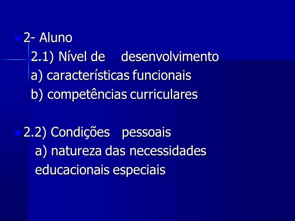 2- Aluno2.1) Nível de desenvolvimento. a) características funcionais. b) competências curriculares.
