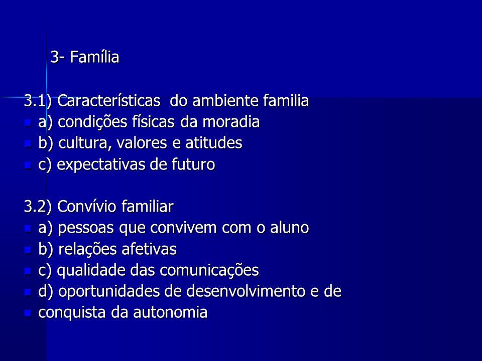 3- Família 3.1) Características do ambiente familia