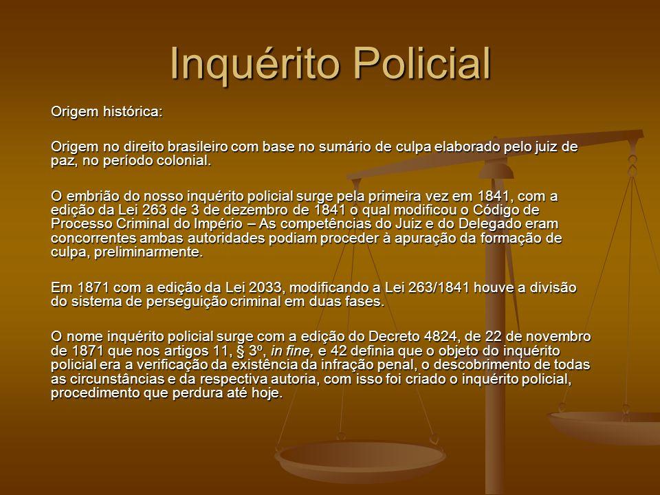 Inquérito Policial Origem histórica: