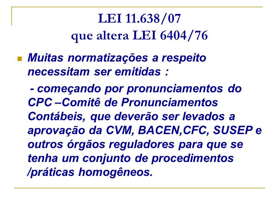 LEI 11.638/07 que altera LEI 6404/76 Muitas normatizações a respeito necessitam ser emitidas :