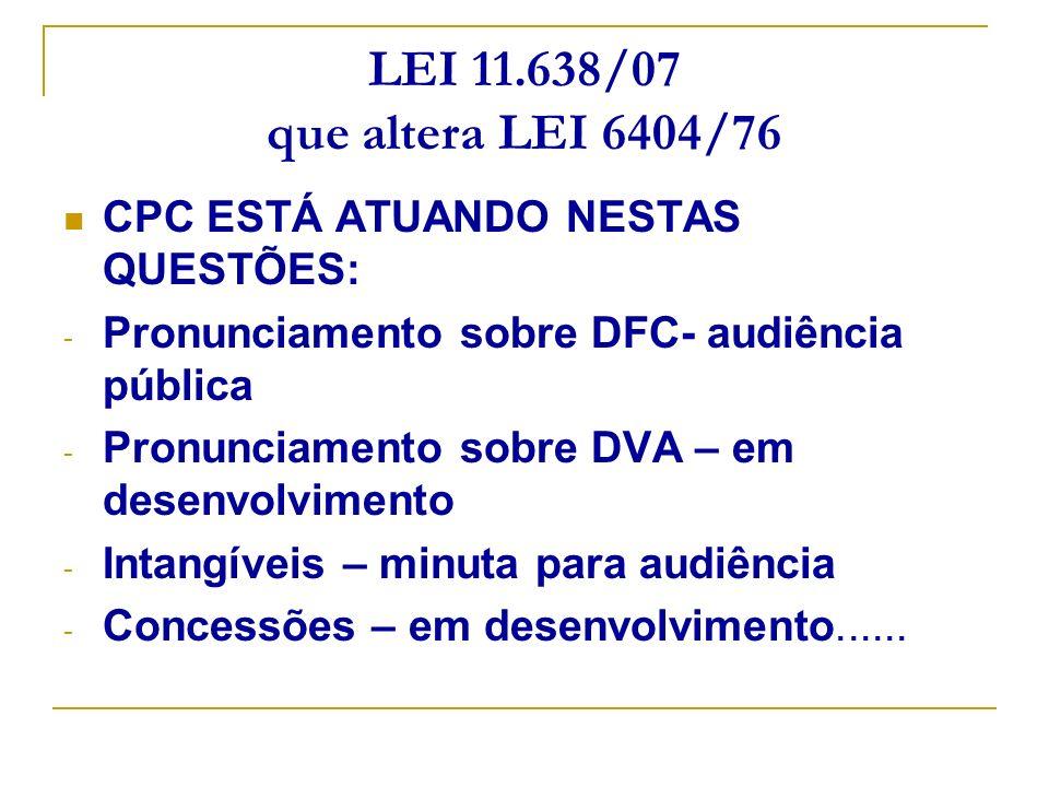 LEI 11.638/07 que altera LEI 6404/76 CPC ESTÁ ATUANDO NESTAS QUESTÕES: