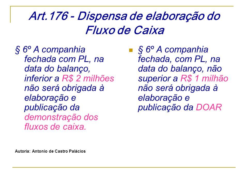 Art.176 - Dispensa de elaboração do Fluxo de Caixa