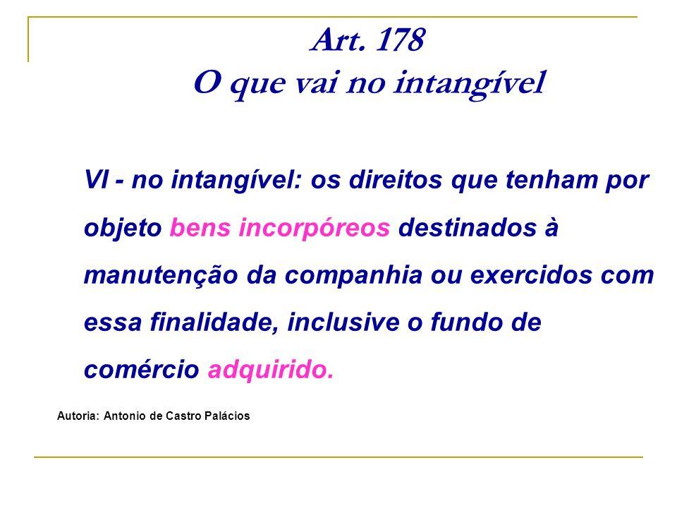 Art. 178 O que vai no intangível