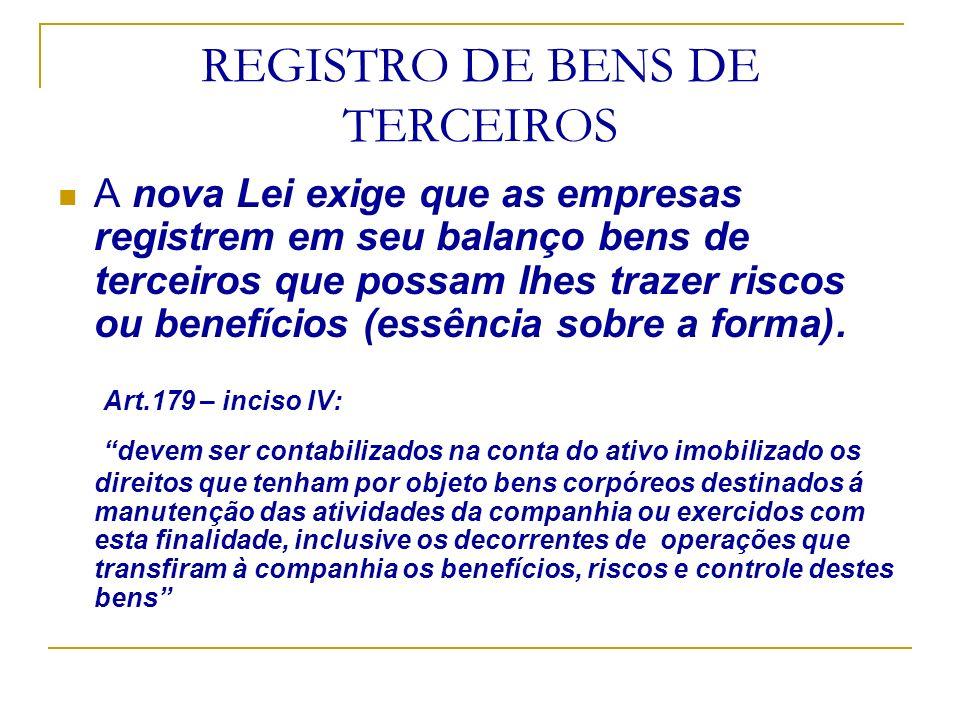 REGISTRO DE BENS DE TERCEIROS
