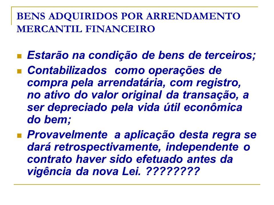 BENS ADQUIRIDOS POR ARRENDAMENTO MERCANTIL FINANCEIRO