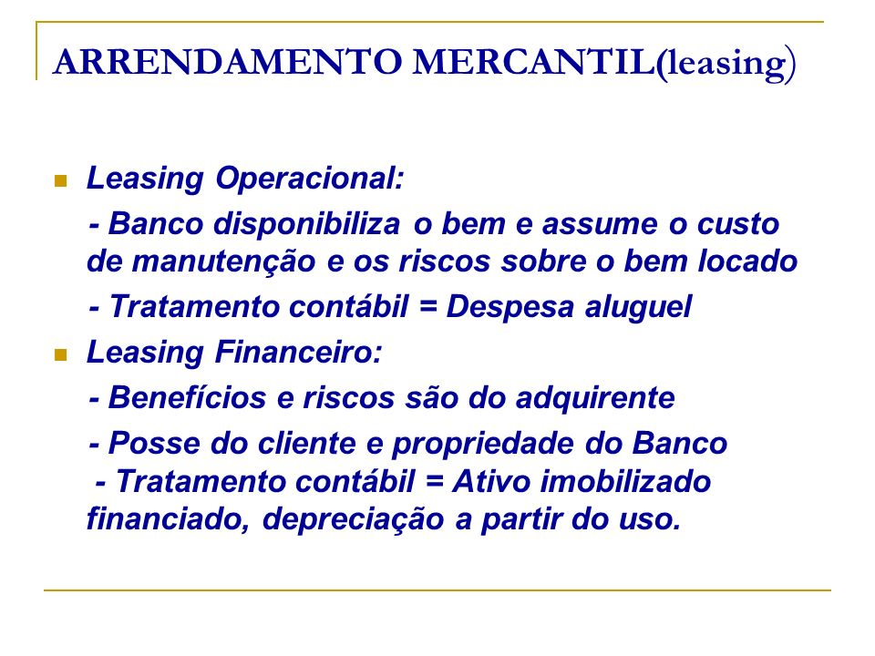 ARRENDAMENTO MERCANTIL(leasing)