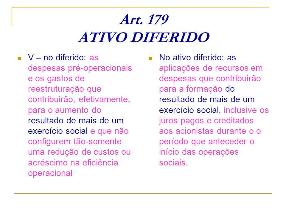 Art. 179 ATIVO DIFERIDO