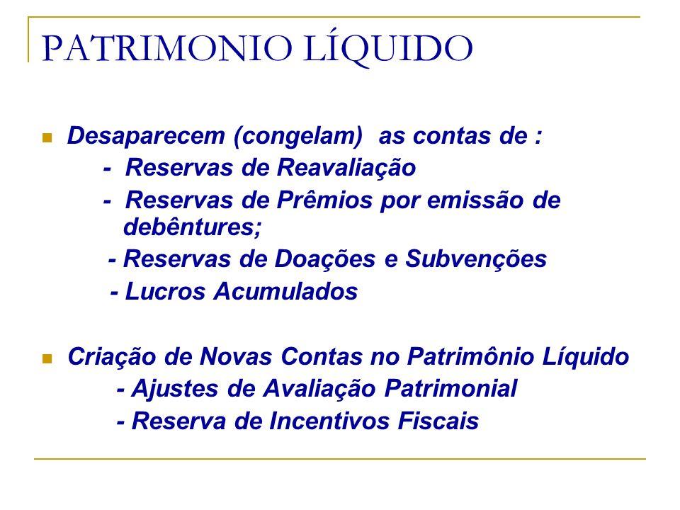 PATRIMONIO LÍQUIDO Desaparecem (congelam) as contas de :