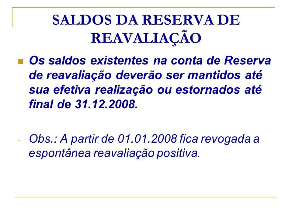 SALDOS DA RESERVA DE REAVALIAÇÃO