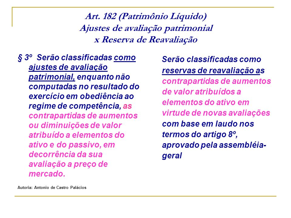 Art. 182 (Patrimônio Líquido) Ajustes de avaliação patrimonial x Reserva de Reavaliação