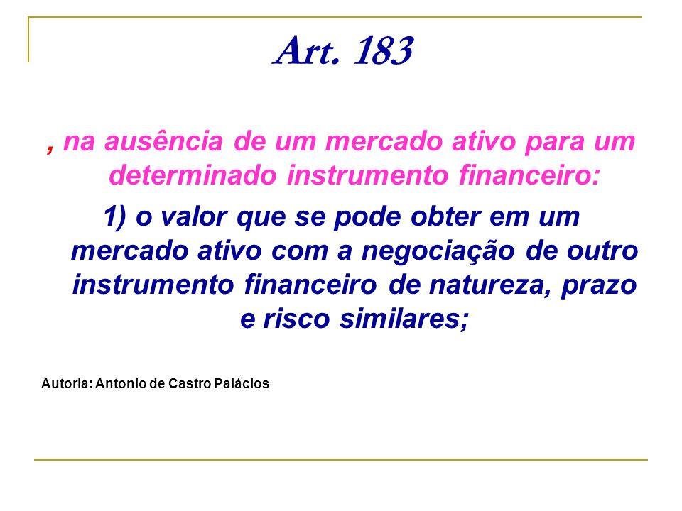 Art. 183 , na ausência de um mercado ativo para um determinado instrumento financeiro: