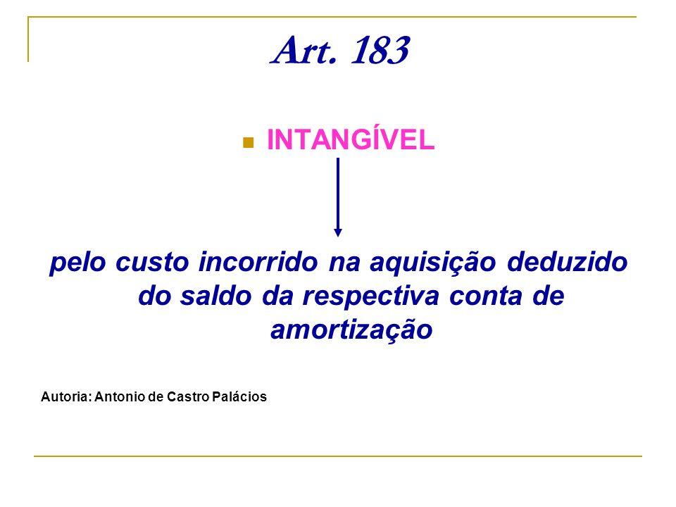 Art. 183 INTANGÍVEL. pelo custo incorrido na aquisição deduzido do saldo da respectiva conta de amortização.