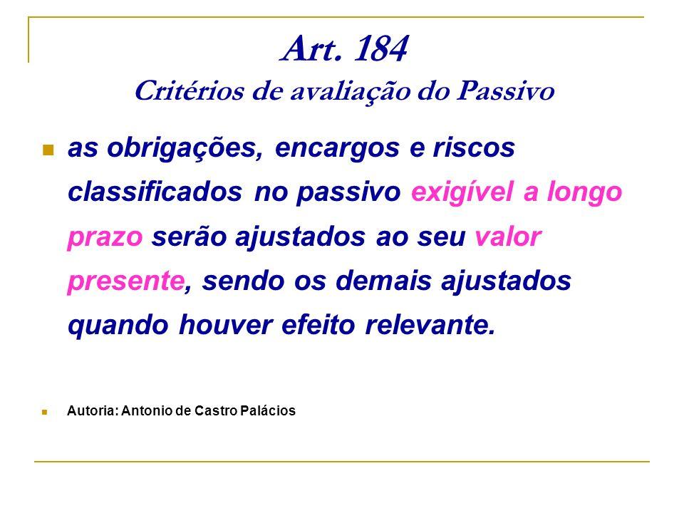 Art. 184 Critérios de avaliação do Passivo