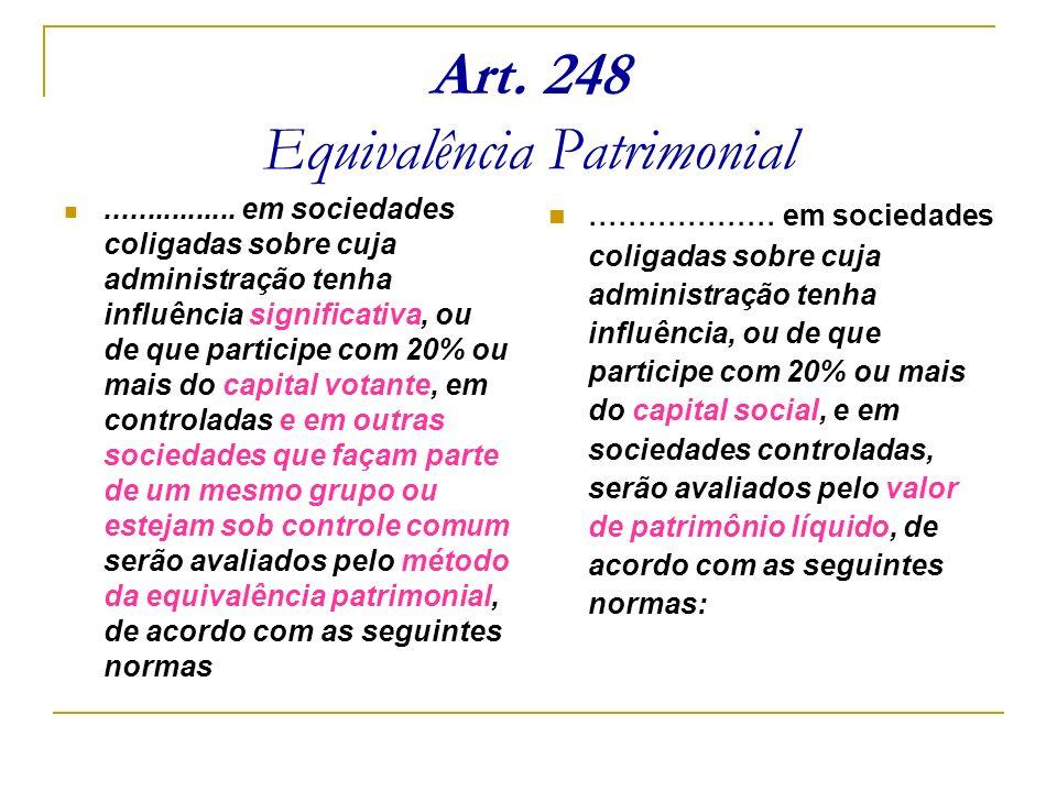 Art. 248 Equivalência Patrimonial