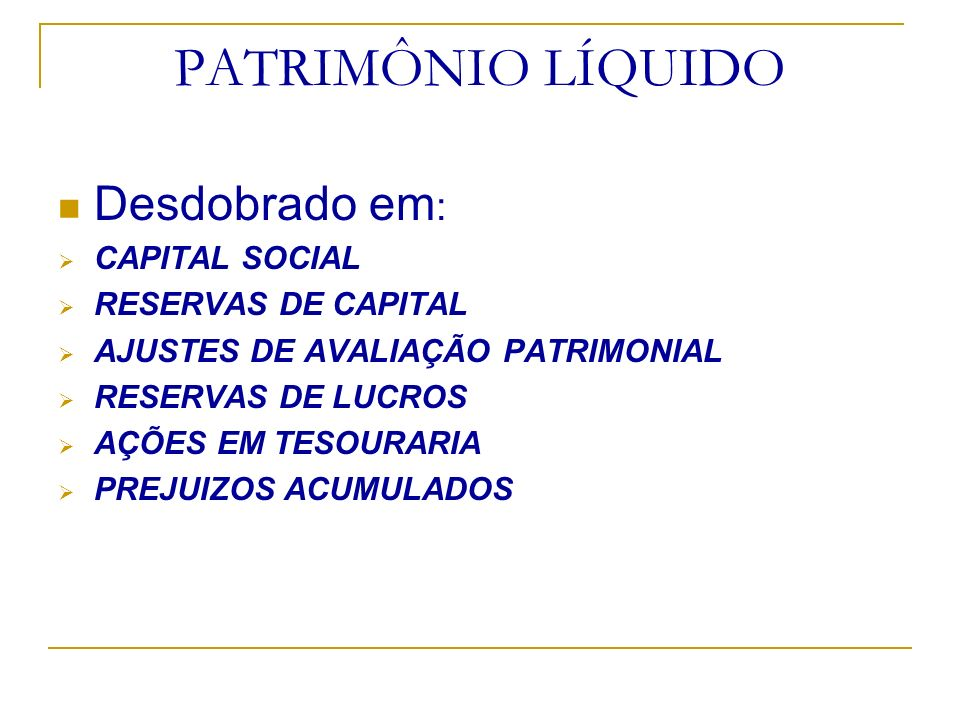 PATRIMÔNIO LÍQUIDO Desdobrado em: CAPITAL SOCIAL RESERVAS DE CAPITAL