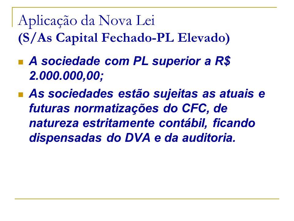Aplicação da Nova Lei (S/As Capital Fechado-PL Elevado)