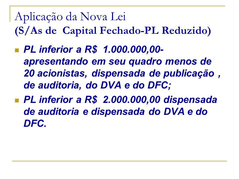Aplicação da Nova Lei (S/As de Capital Fechado-PL Reduzido)