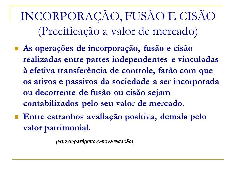 INCORPORAÇÃO, FUSÃO E CISÃO (Precificação a valor de mercado)