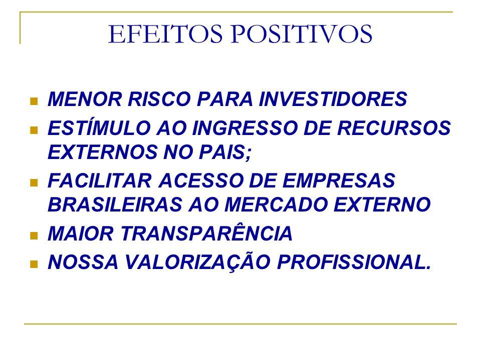EFEITOS POSITIVOS MENOR RISCO PARA INVESTIDORES