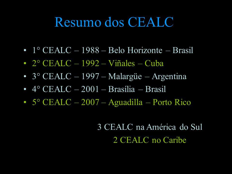 Resumo dos CEALC 1° CEALC – 1988 – Belo Horizonte – Brasil