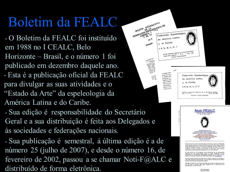 Boletim da FEALC - O Boletim da FEALC foi instituído em 1988 no I CEALC, Belo Horizonte – Brasil, e o número 1 foi publicado em dezembro daquele ano.