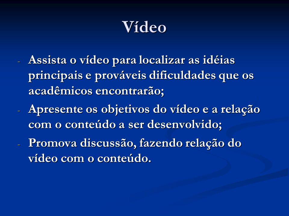 Vídeo Assista o vídeo para localizar as idéias principais e prováveis dificuldades que os acadêmicos encontrarão;