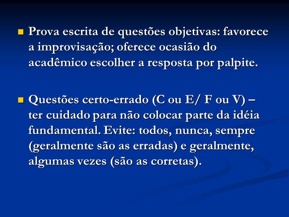 Prova escrita de questões objetivas: favorece a improvisação; oferece ocasião do acadêmico escolher a resposta por palpite.