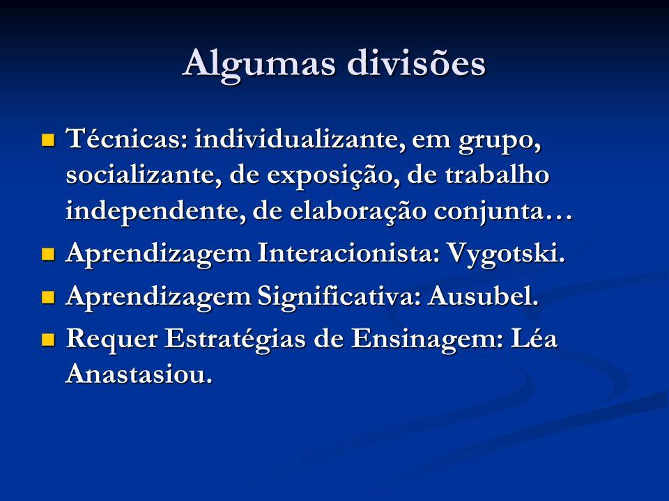 Algumas divisões Técnicas: individualizante, em grupo, socializante, de exposição, de trabalho independente, de elaboração conjunta…