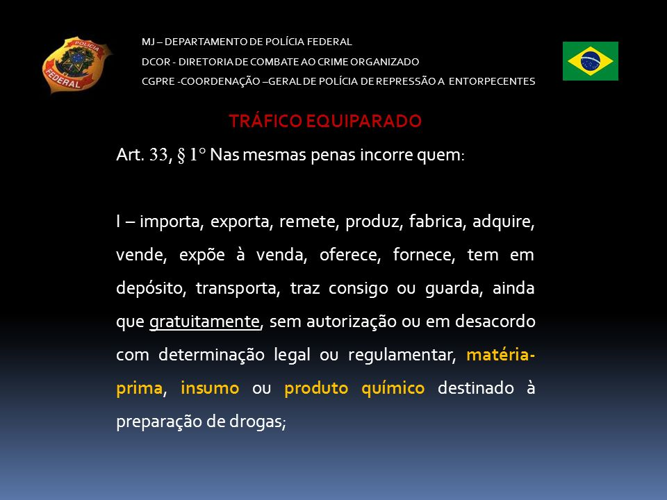Art. 33, § 1° Nas mesmas penas incorre quem: