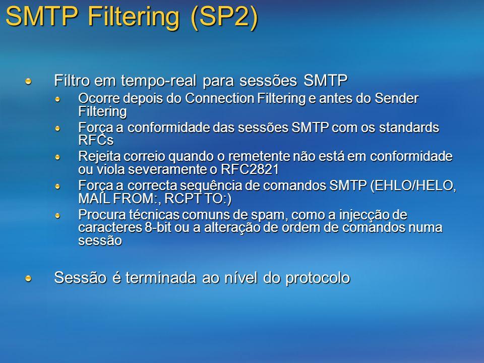 SMTP Filtering (SP2) Filtro em tempo-real para sessões SMTP