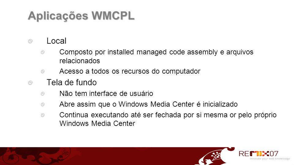 Aplicações WMCPL Local Tela de fundo