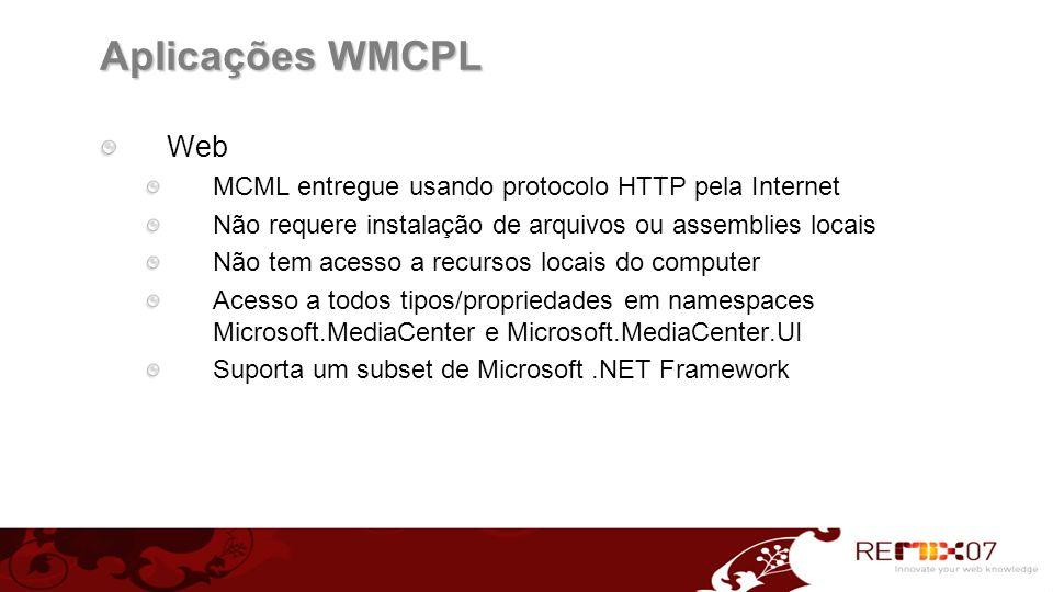 Aplicações WMCPL Web MCML entregue usando protocolo HTTP pela Internet